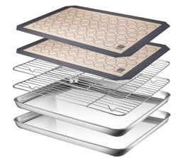 AASELM Baking Sheet Cooling Rack with Silicone Mat